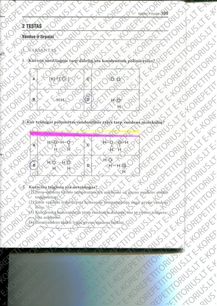 9 klasė, Chemijos pratybos 1 dalis