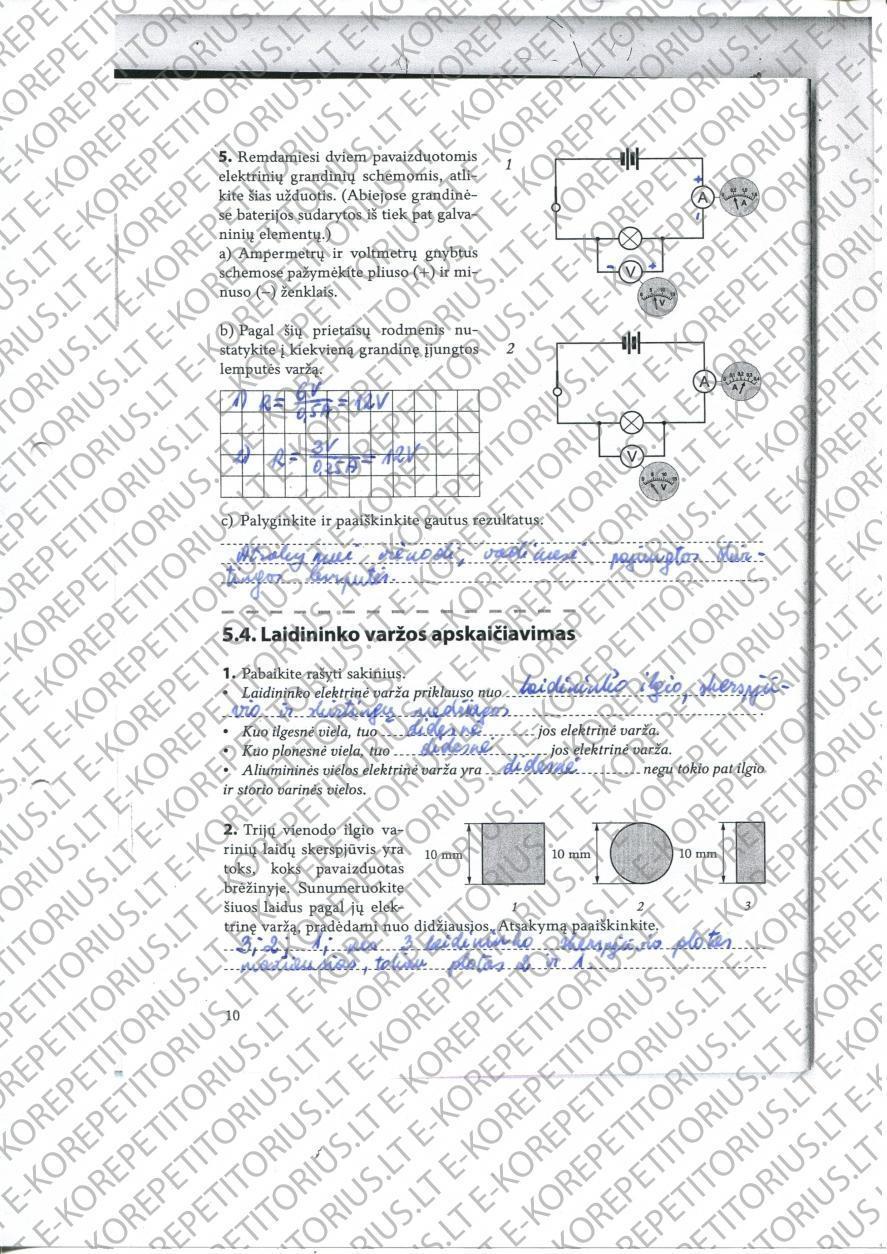 9 klasė, Fizikos pratybos 2 dalis
