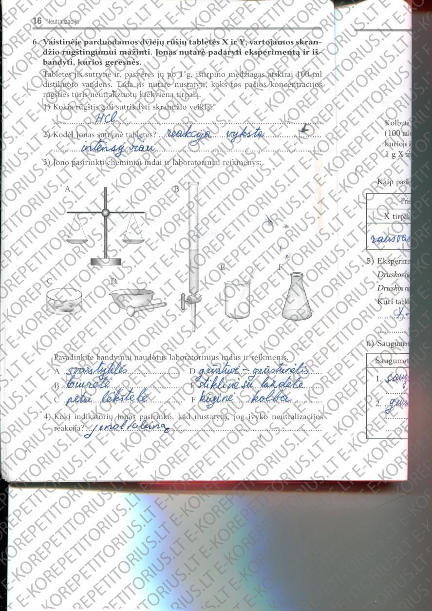 9 klasė, Chemijos pratybos - 2 dalis