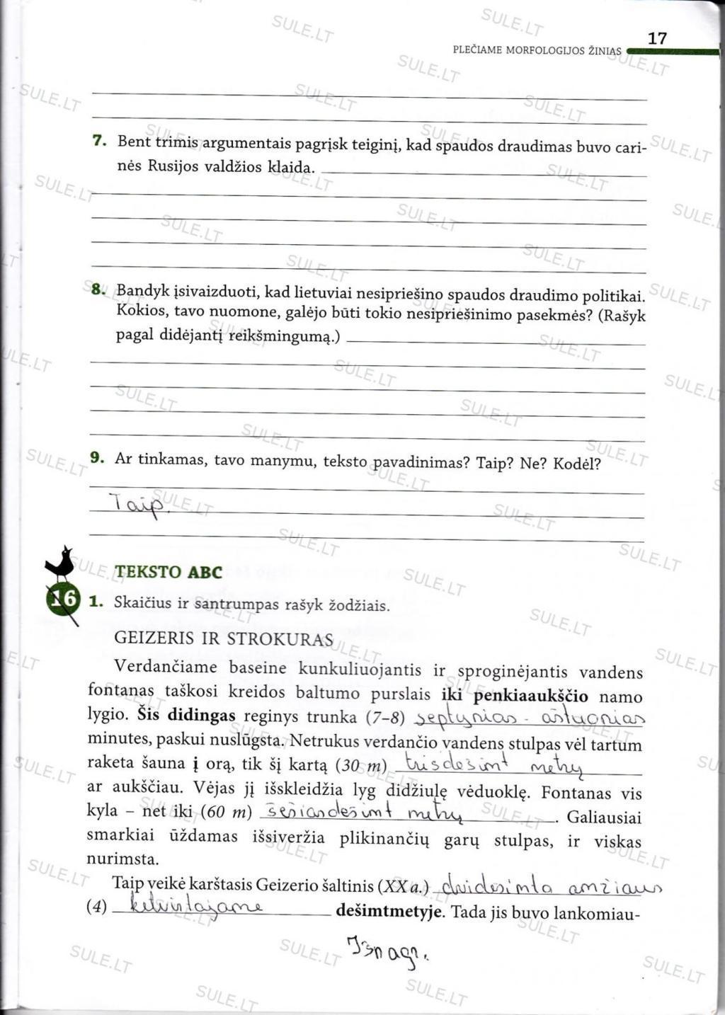 7 klasė, Lietuvių kalba - 2 dalis