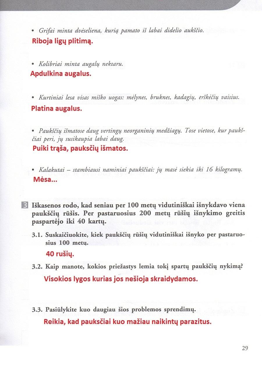 7 klasė, Biologijos pratybos 7 ( II )