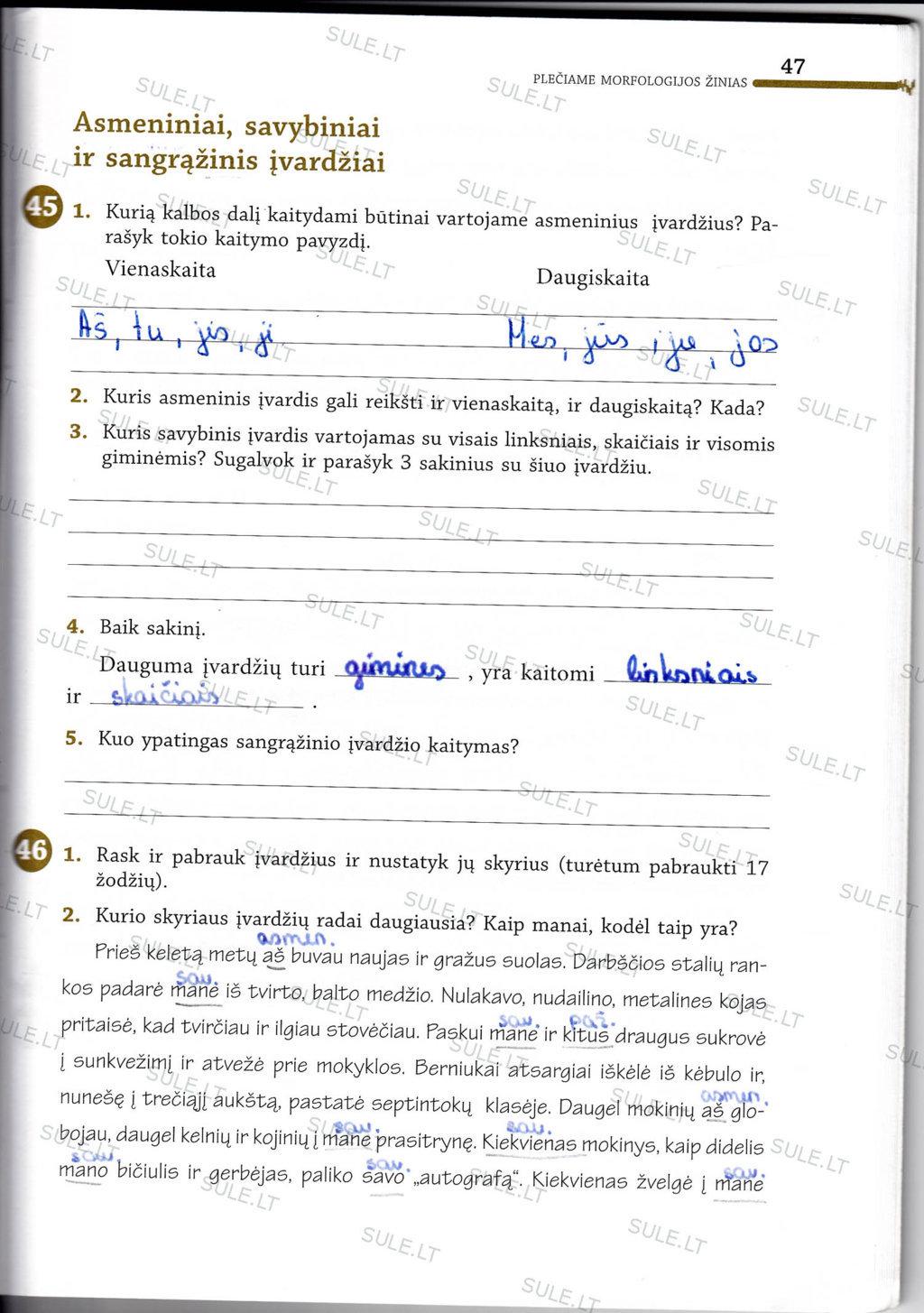 7 klasė, Lietuvių kalba - 1 dalis
