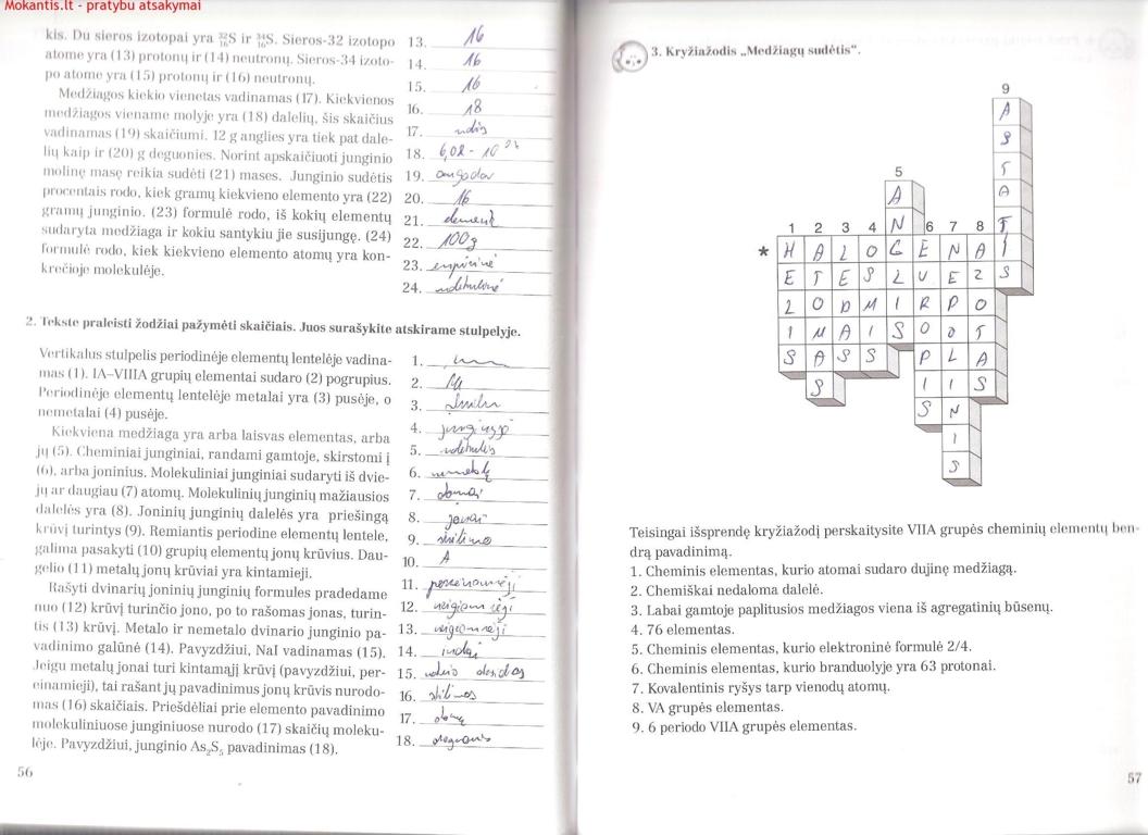 Chemija, Chemijos pratybos - 2 dalis