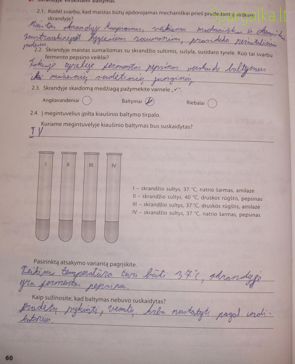 9 klasė, Biologijos pratybos