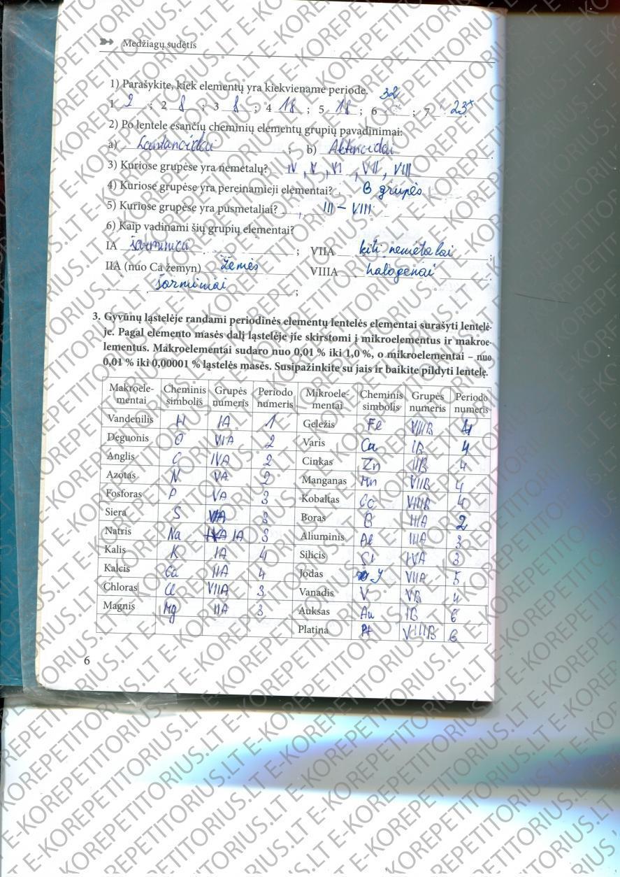 Chemija, Pratybos - 2 dalis