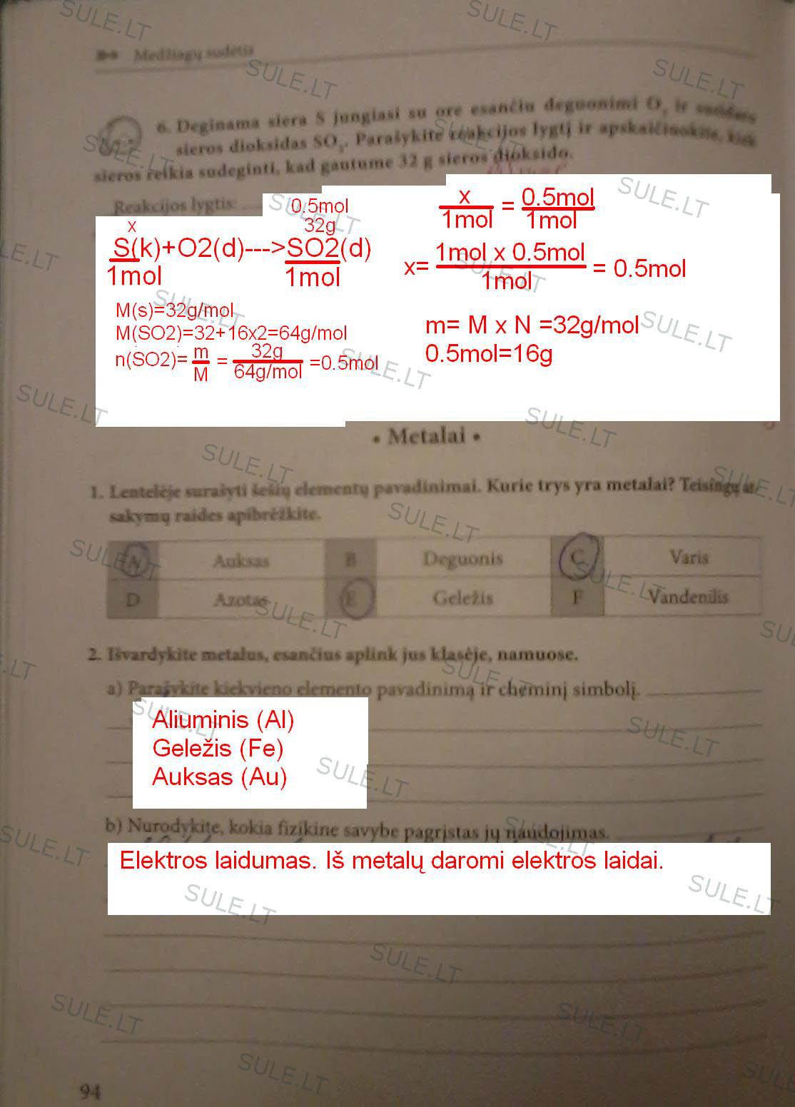 Chemija, Chemijos pratybos - 1d